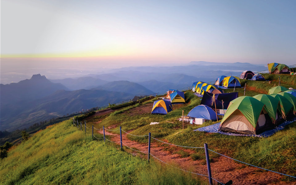 camping tents on mountain